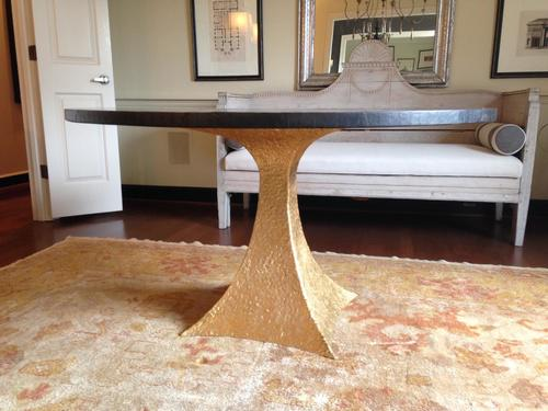 zinc top dining table dark wood contemporary dining table with gold hammered iron base zinc top for sale image chairish