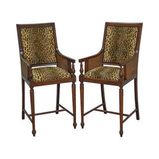 Regency Style Mahogany Frame Leopard Print Bar Stools w/ Cane Sides - a Pair