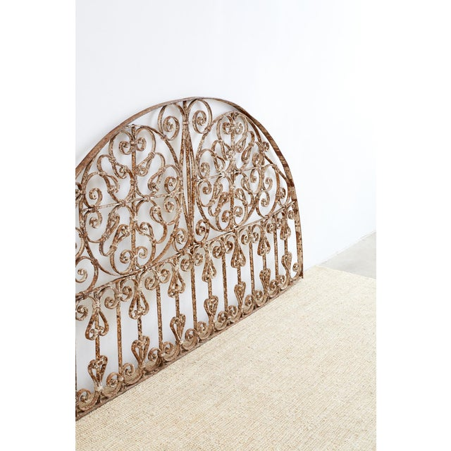 19th Century French Demilune Iron Transom Grille For Sale - Image 4 of 12