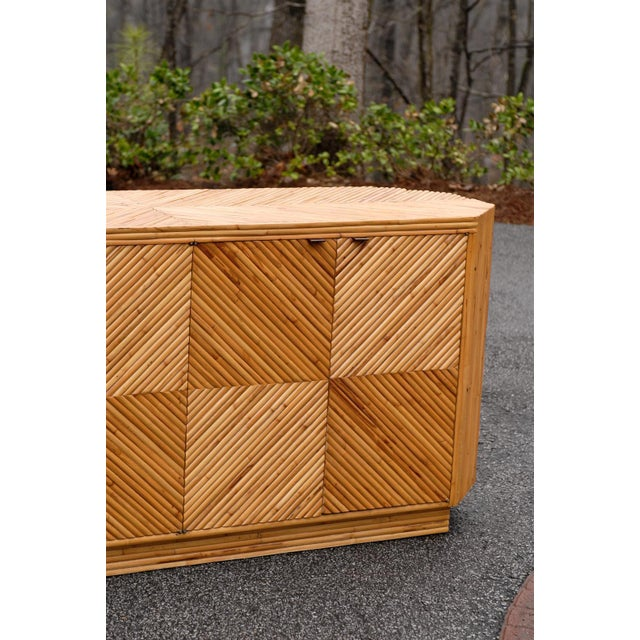 Tan Vintage Split Bamboo Cabinet or Buffet For Sale - Image 8 of 10