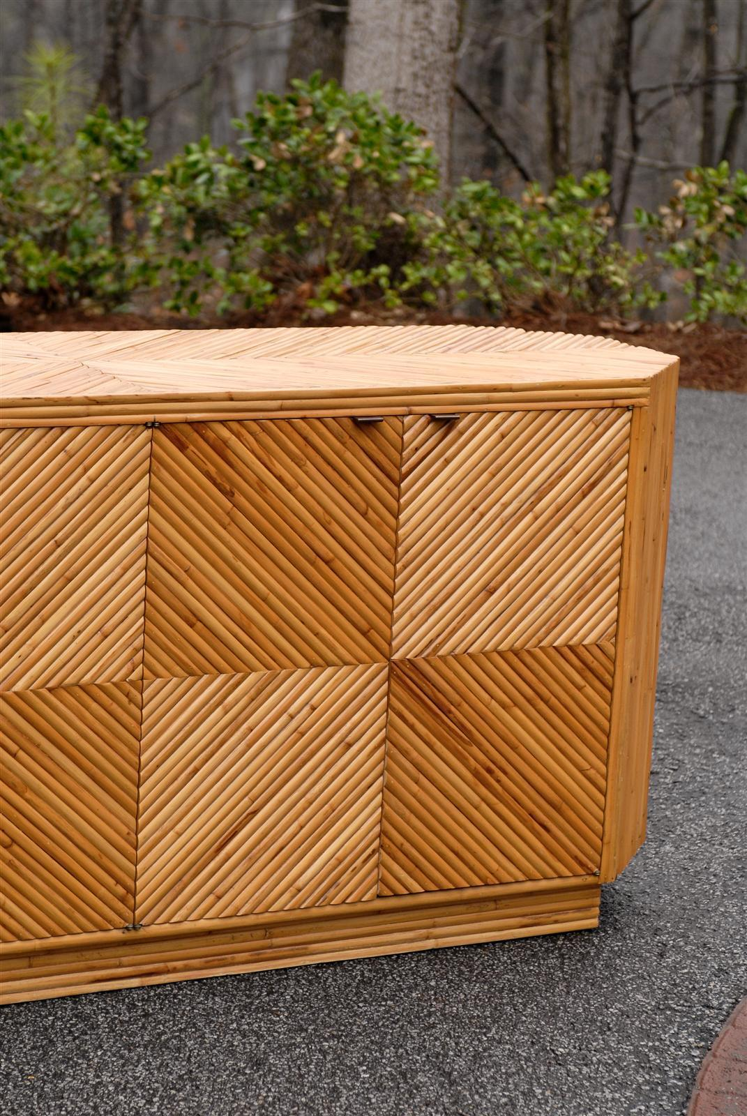 Vintage Split Bamboo Cabinet Or Buffet   Image 8 Of 10