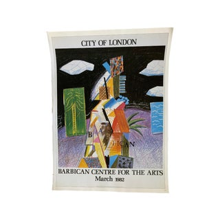 1980s David Hockney London Barbican Center Advertising Poster For Sale