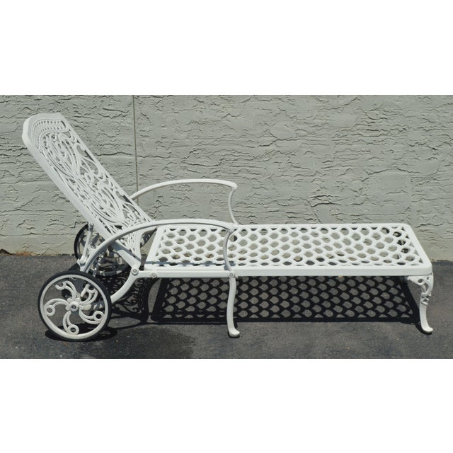 Metal Quality Pair Cast Aluminum Patio Chaise Lounges For Sale - Image 7 of 13