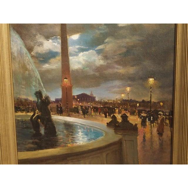 """""""Evening at La Place De La Concorde, Paris"""" Painting by Paul Balmigere (1882-1953) For Sale - Image 10 of 13"""