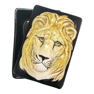 Italian Black Lion Box Pottery Ceramic For Sale