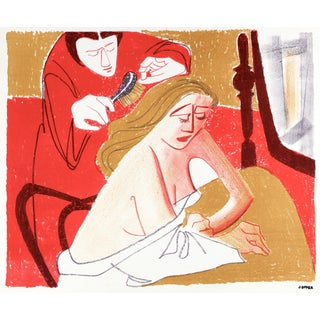 Woman Getting Her Hair Brushed, Mid Century Lithograph For Sale