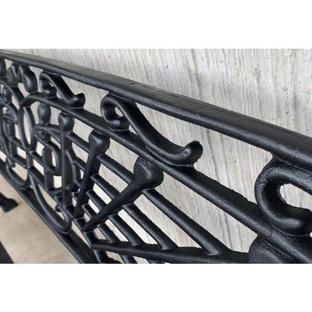 Metal New Large Black Cast Aluminum Garden or Park Bench For Sale - Image 7 of 13