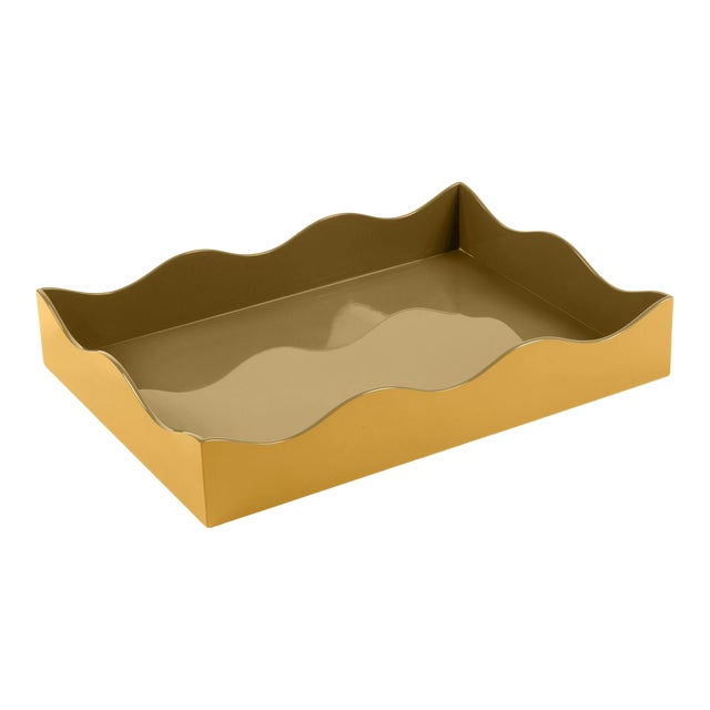 The Lacquer Company for Chairish Belle Rives Tray in Mayan Gold / Olive, Large For Sale
