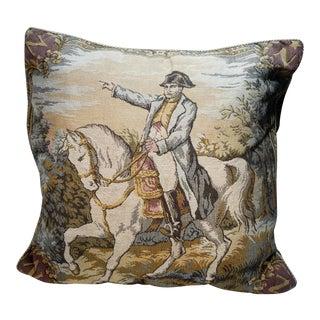 Vintage Napoleon Bonaparte on Horse Tapestry Pillow - 18 X 18