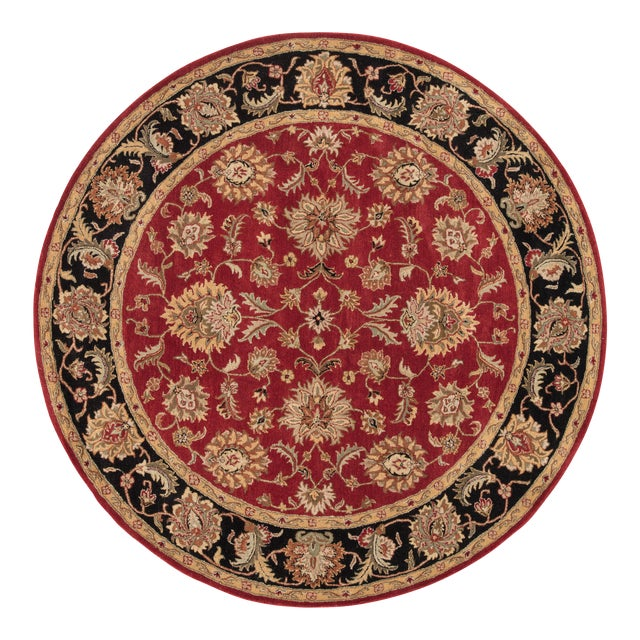 Jaipur Living Anthea Handmade Floral Red Black Round Area Rug 8'X8' For Sale