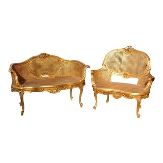 1950s Vintage Louis XV Style Giltwood Carved Double Caned Wicker Settees- A Pair For Sale