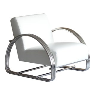 Pasargad Home Concord Modern White Lounge Chair For Sale