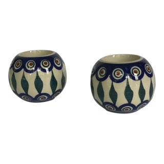 Vintage Ceramic Blue and Green Painted Mediterranean Candle Holders - a Pair For Sale