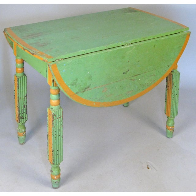 Kelly Green Antique 1920s Hand Painted Drop-Leaf Dining Table For Sale - Image 8 of 8