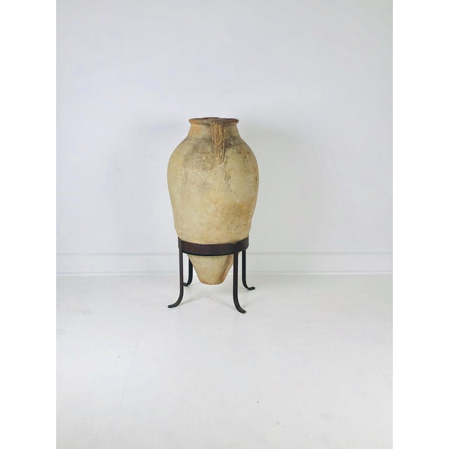 Large and Tall Amphora in Later Steel Stand For Sale In San Francisco - Image 6 of 8