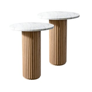 Featured in The 2020 San Francisco Decorator Showcase — Custom Fluted Wood and Marble Side Tables - a Pair