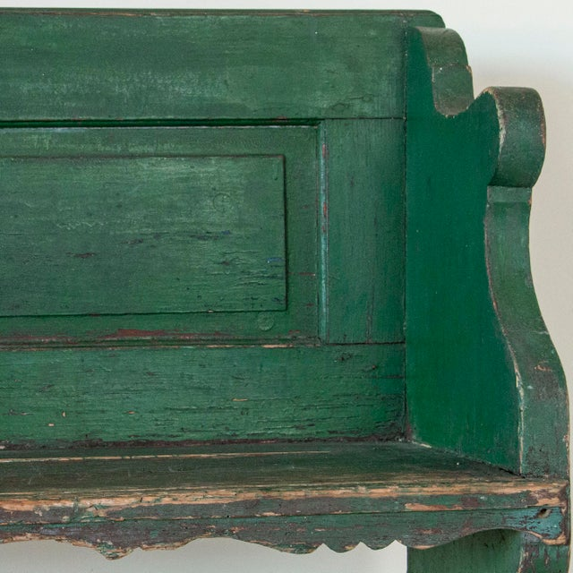 Mid 19th Century Antique Original Green Painted Pine Bench For Sale - Image 4 of 5