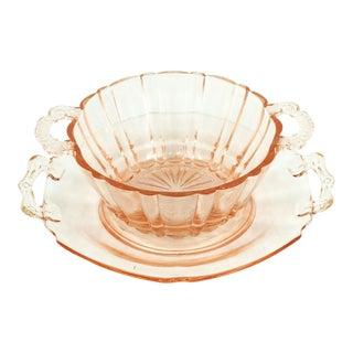 Anchor Hocking Pink Glass Bowl and Plate For Sale
