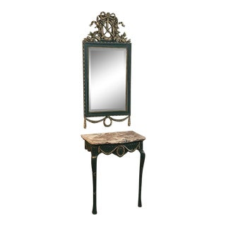 19th Century Italian Carved Wood Painted Marble Top Console With Mirror For Sale