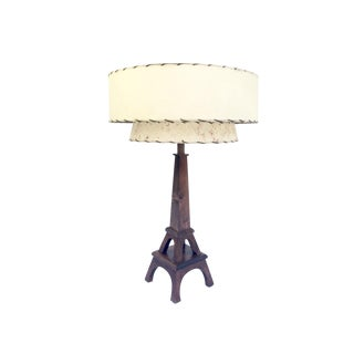 Mid-Century Eiffel Lamp in Rich Wood with Vintage Fiberglass Shade For Sale