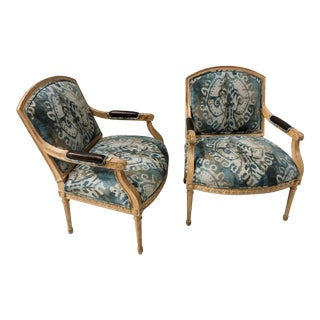 Ikat Linen & Leather Carved Fruitwood Bergere Chairs - a Pair For Sale