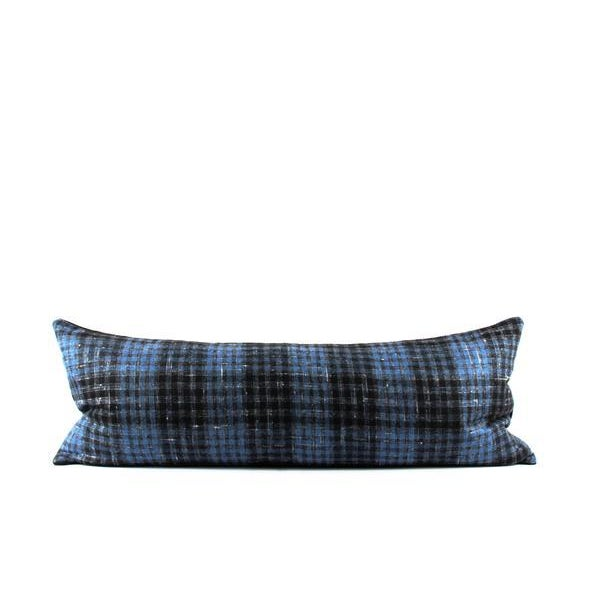 """Blue Plaid Wool Lumbar Pillow 13"""" x 34"""" For Sale - Image 5 of 7"""