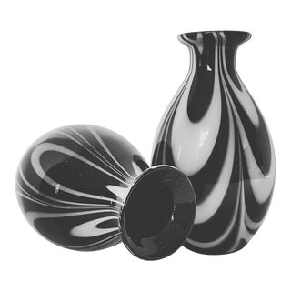 Black and White Murano Blown Glass Vase - a Pair For Sale