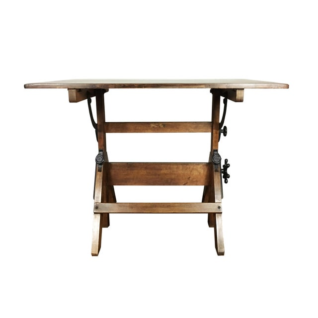 Vintage 1920s Cast Iron Hardware, Solid Maple and Pine Drafting Table For Sale In Boston - Image 6 of 8