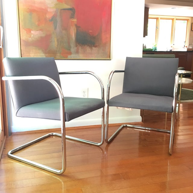 Blue Mies Van Der Rohe for Thonet Brno Chairs - a Pair For Sale - Image 8 of 13
