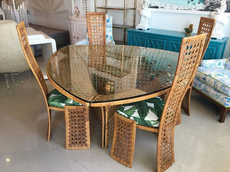 Vintage Dining Set By Danny Ho Fong. Set Includes: Rattan, Wicker,  Triangular