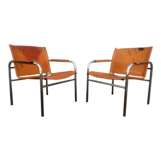 Distressed Leather & Chrome Sling Chairs - A Pair For Sale