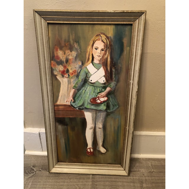 """Paint 1960s """"Girl Holding Shoe"""" Portrait Painting, Framed For Sale - Image 7 of 7"""