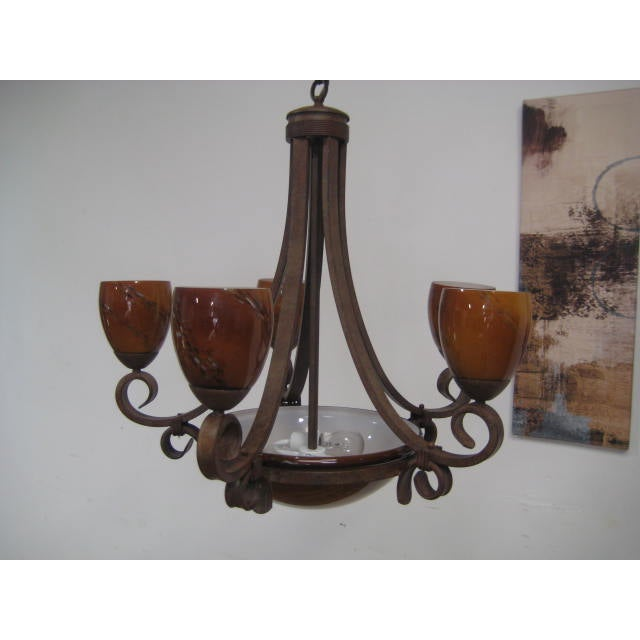Blown Glass Rustic Chandelier - Image 5 of 8