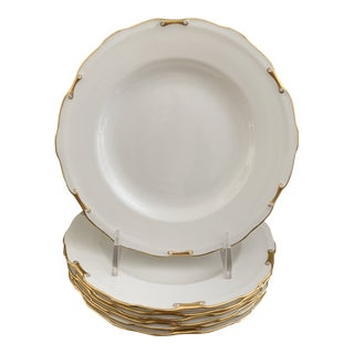 Antique English Royal Crown Derby White and Gold Bone China Plates - Set of 7 For Sale