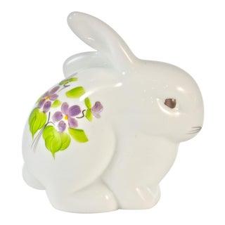 Purple Violets Floral Rabbit Figure