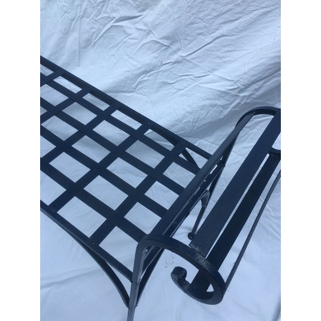 Boho Chic 1990s Boho Chic Lattice Wrought Iron Backless Bench For Sale - Image 3 of 7