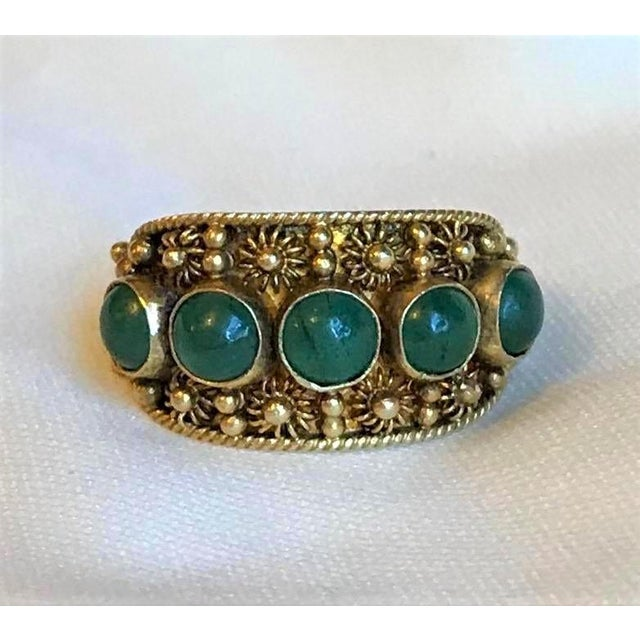 Green Chinese Gold-Plated Sterling and Jade Ring For Sale - Image 8 of 8