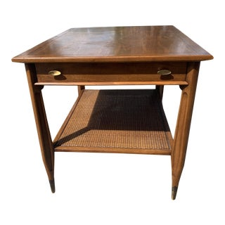 Mid-Century Modern End Table With Cane Shelf For Sale