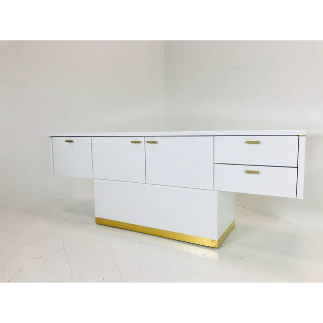 Lacquered T-Console/Sideboard With Brass Accents For Sale - Image 4 of 8