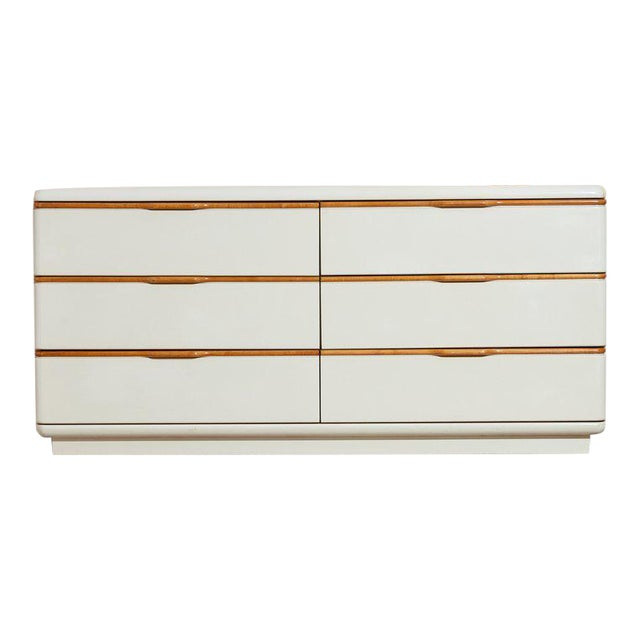 1980s Lane Beige Lacquer and Wooden Dresser For Sale