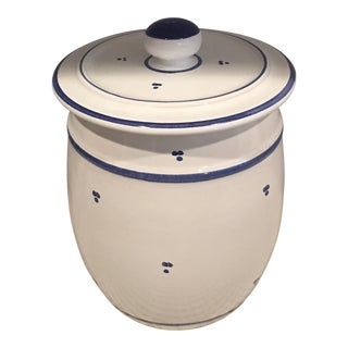 Blue & White Ceramic Canister For Sale