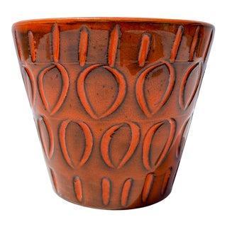 Italian Orange Mid-Century Ceramic Planter For Sale