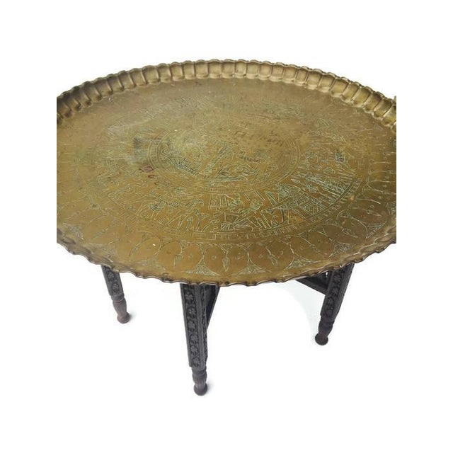 Vintage Moroccan Brass Tray Coffee Table - Image 3 of 7