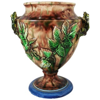 19th Century Majolica Palissy Frog Vase Signed Thomas Sergent For Sale