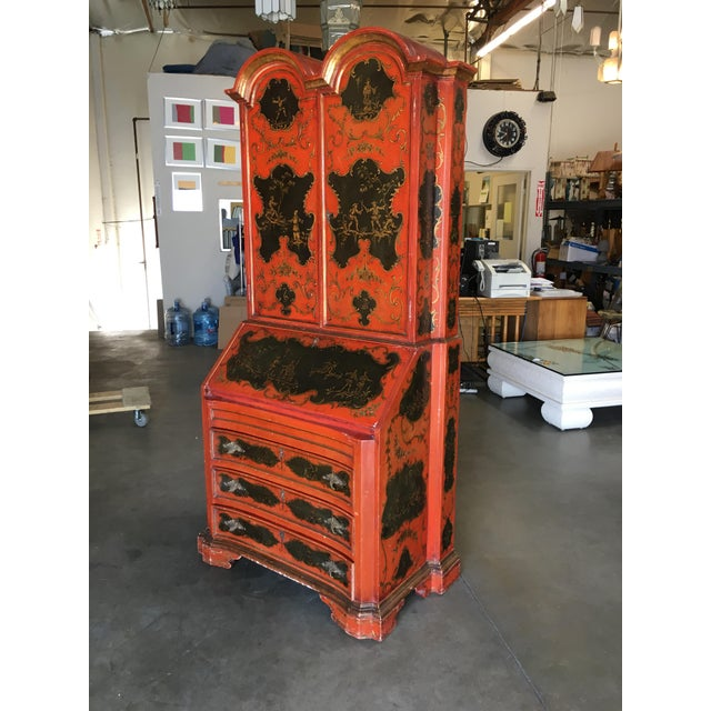 Hollywood Regency Secretary Desk Secretaire Bookcase W/ Chinese Motif For Sale - Image 4 of 11