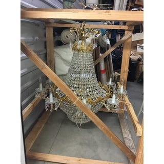 Late 1970's Empire Style Gold Toned & Crystal Chandelier Preview