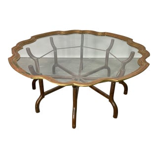 Brass and Glass Tray Top Coffee Table by Baker For Sale