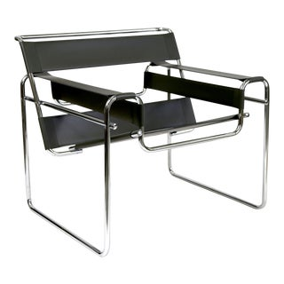Reproduction Wassily Chair Marcel Breuer Black Leather and Chrome Tube Frame