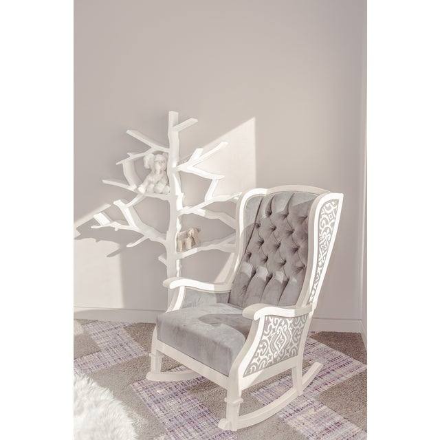 Handmade Wingback White Wooden Rocking Chair - Image 7 of 7