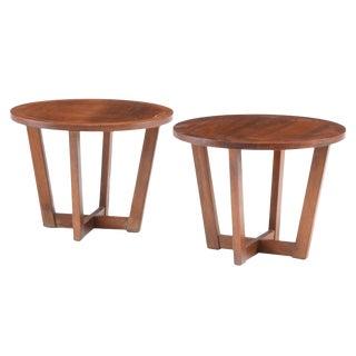 1970s Mid-Century Modern Lane Furniture Walnut Side Tables - a Pair